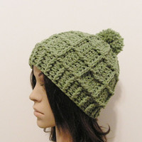 Epic Ribbed Squared Beanie With PomPom- Lettuce - Made to order - Mens and womens hat