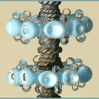 Handmade Lampwork Sky Blue Beads, Bubble Lampwork Glass Beads Disc Set (6)
