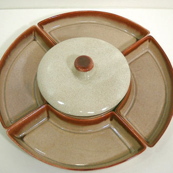 Vintage Chip and Dip Lazy Susan Pottery Mid Century Snack Serving Set 6-Pieces