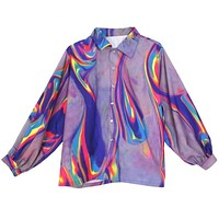 Technicolor Meshed Buttoned Up Top