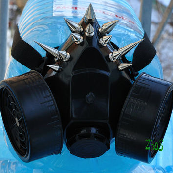 Cyber Mask Black Cyber Goth Respirator Gas Mask 12 Spikes