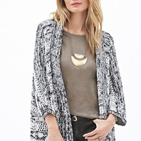 LOVE 21 Marled Striped Knit Cardigan Black/White