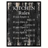 Kitchen Rules Motivational Quote Saying Canvas Print with Picture Frame Home Decor Wall Art