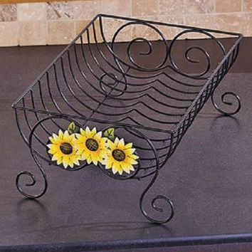 Country Kitchen Decor Dish Rack Iron Sunflower Farmhouse Rustic Primitive NEW