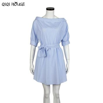 Office Dress Casual Shirt Half Sleeve Off Shoulder Mini Dress Ladies Office Autumn Wear Dress Vestido Listrado#C905