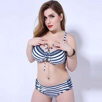 2017 Push Up Plus Size Women Swimwear Strip High Waist Swimsuit Female Big Chest Bathing Suit Biquini Maillot De Bain For Women -03021