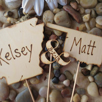 Personalized Rustic State Wedding Cake Toppers