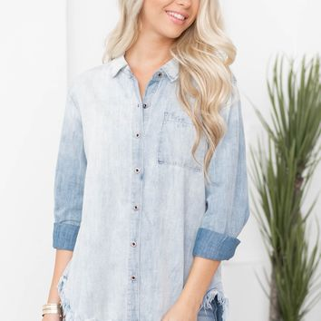 Lorena Frayed Hem Denim Top