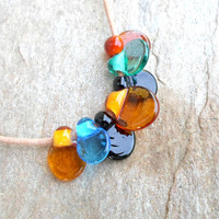 Glass Lampwork Beads, Handmade Glass Pressed Drop Beads, Lampwork Bead Set, Handmade Glass Jewelry Supplies for Glass lampwork Jewelry