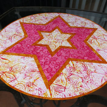 Round Quilted Batik Table Topper Star Orange 630