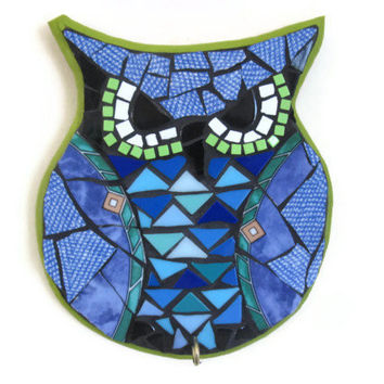 Owl Art wall hanging Hook Hanger Key Holder Broken China Mosaic Home Decoration