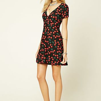Cherry Print Cutout-Back Dress