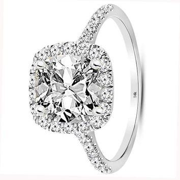 .1.79 Carat GIA Certified 14K White Gold Halo Cushion Cut Diamond Engagement Ring (1.04 Ct D Color VS1 Clarity Center)