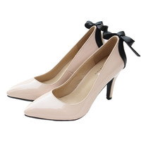 2017 New Genuine Leather high heels Sexy women Pumps Bow tie Wedding Shoes Dresses Shoes Brand Shoes Woman