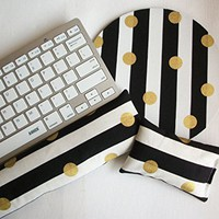 black white stripes gold dots - Mouse pad set - mouse wrist rest - keyboard rest - coworker gift, under 50, office accessories, desk, cubical decor