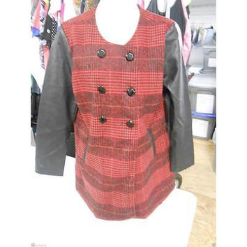 Women's Leather Sleeved Jacket, Large, Red Plaid/Black Ib Diffusion