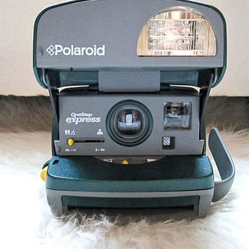 Vintage 1990s POLAROID Onestep 600 Express Instant FILM Camera Hunter Green