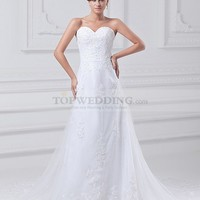 Sweetheart Lace over Satin Princess Wedding Dress with Beaded Applique and Court Train
