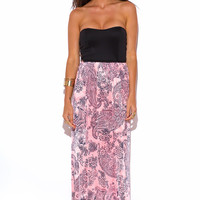 Black and Baby Pink Paisley Print Strapless Maxi Dress