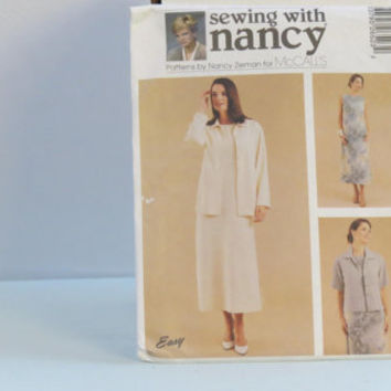 Vintage Sewing with Nancy sewing pattern 2652 size large 16-18 women's dress and unlined jacket made 2000 McCall's