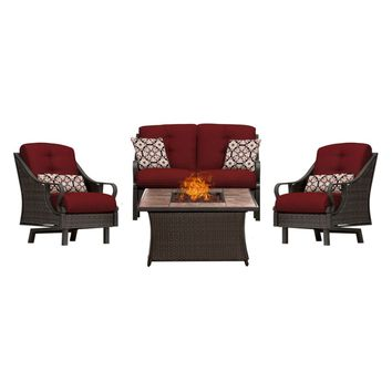 Hanover Outdoor Ventura 4-Piece Fire Pit Lounge Set with Faux Wood-Grain Tile Top Brown N 4-Piece Sets
