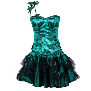 Burlesque Green Satin Christmas Rave Corset Dress Victorian Bustier With Tutu Skirt Set Sexy Corsets ang Bustiers Gothic Dress