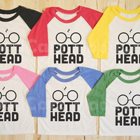 S, M, L -- Youth T-Shirt Design 1 - Pott Head T-Shirt Harry Potter Shirt Hogwarts Shirt Long Sleeve Youth Shirt Women T-Shirt Baseball Shirt