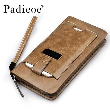 Genuine Leather Men Wallets Men's Zipper Long Purse Casual Leather Phone Bag Clutch Bags