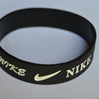 Nike NK1 Baller Band Silicone Rubber Basketball Baseball Football Running Wristband Bracelet (Black)