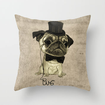 Pug (gentle pug). Throw Pillow by Barruf