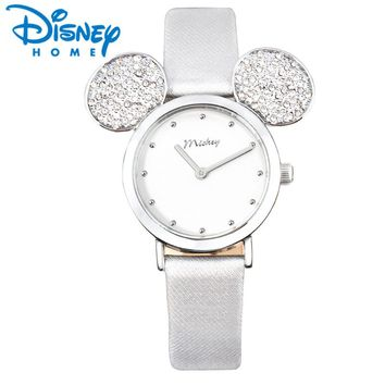 Disney Watch Women 2018 Mickey Mouse Rose Gold Women Watches Fashion Casual Rhinestone Waterproof Leather Luxury Ladies Watch