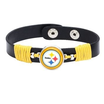 10pcs/lot! Adjustable Premium Leather Ginger Snaps Bracelet with a Pittsburgh Steelers 18mm Snap  for Men,Women and Teens