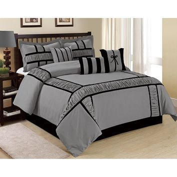 7 Piece MARMAR Ruffling And Patchwork Comforter Set Queen King CalKing Size In Multiple Colors (Gray, Taupe, Navy blue)
