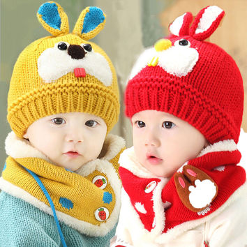 Retail Unisex Children Cute Rabbit Pattern Beanies Hat Set Baby Kids Knitted Caps and Scarf Warm Suit Set Free Shipping MZ3092