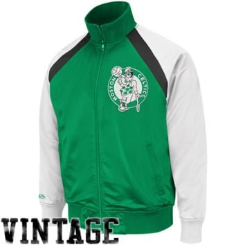 Mitchell & Ness Boston Celtics Cornerman Full Zip Track Jacket - Kelly Green/White