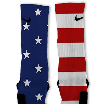 All American USA Custom Nike Elite Socks Fast Shipping!! Nike Elites Customized!! Bald Eagle