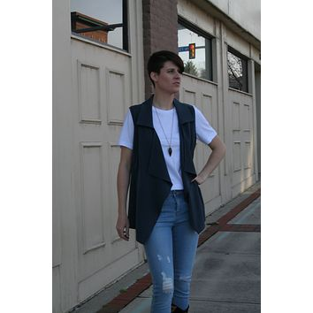 Fitted Navy Cardigan Vest