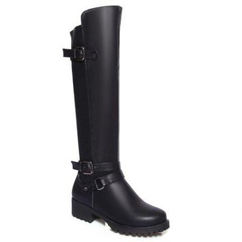 Black Knee-High Boots With Buckle and Rivets Design