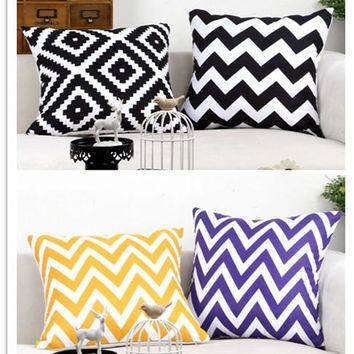 Micro Suede Chevron Geometric Zigzag Pillow decorative sofa Cushion Birdcage Eiffel Tower Crown Throw