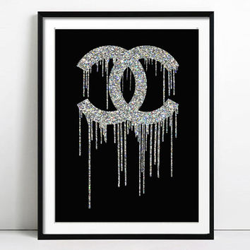 Coco Chanel Art, Chanel Print, Fashion illustration, Woman Graduation gift, Poster, Birthday, Gift for Her, Wall Art, Monogram, Home Decor