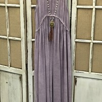 Our All I Need Maxi Dress - Purple is a must have! It's a sleeveless maxi with high waist and lace detail. Has a faded wash style. Unlined.