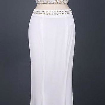 Two Piece white Evening dresses Mermaid Beading See Through crop top Party Dress Floor Length