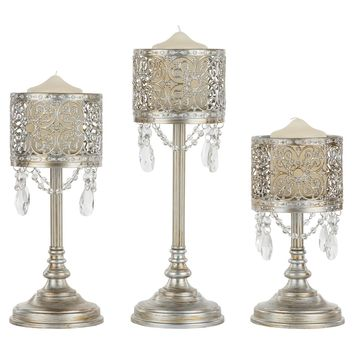 3-Piece Vintage Metal Hurricane Pillar Candle Holder Set (Silver)