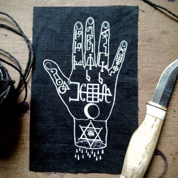 Occult nu goth patch - hand of power, symbols demons punk patch, pagan patches, witch patch sew on patch, voodoo, wicca screen printed patch