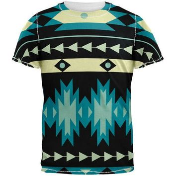 CREYON Native American Pattern Blue All Over Adult T-Shirt