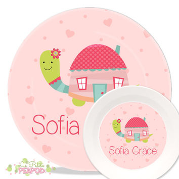 Personalized Melamine Plate and Bowl Set - Pink Turtle House Design