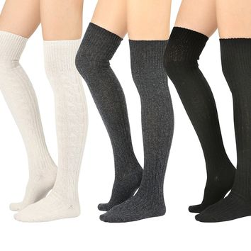STYLEGAGA Winter Wool Cable Knit Over The Knee High Boot Socks