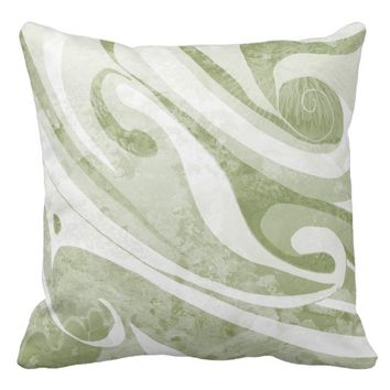 Abstract Green Waves Design Throw Pillow
