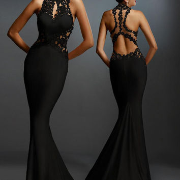 Women formal dress Black Open Back Fine Flowers Floor Length elegant dress