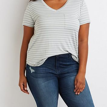 Plus Size Striped V-Neck Boyfriend Tee